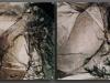 Komposition I/II/III/IV, gravierte Acrylplatte/Tusche auf Leinwand, jeweils 53 x 35 cm