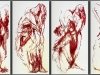 Rote Engel, Ölstick auf Glasfaser, jeweils 100 x 200 cm