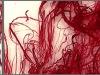 Rote Engel (Detail), Ölstick auf Glasfaser, jeweils 100 x 200 cm