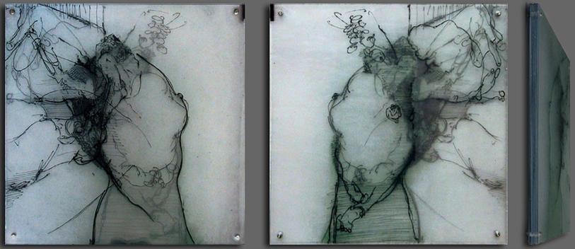 o.T, 6 Acrylplatten, graviert, 50 x 50 cm